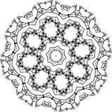 Black and white illustration of a mandala - a flower of life. Cosmic space. stock illustration