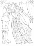 Black and white illustration of medieval prince and princess for coloring. Royalty Free Stock Photos
