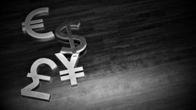 Black and white illustration of metal dollar, euro, yen and pound currency symbol on the wooden floor with free space on right royalty free illustration