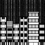 Black&white illustration of night city Stock Photo