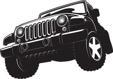 Black and white illustration of offroadster. Royalty Free Stock Photos