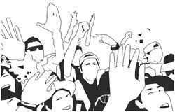 Black and white illustration of party crowd cheering at concert. Stylized drawing of festival crowd Stock Image