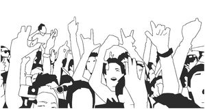 Black and white illustration of party crowd cheering at concert. Stylized drawing of festival crowd Royalty Free Stock Photography