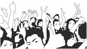 Black and white illustration of party crowd cheering at concert. Stylized drawing of festival crowd Royalty Free Stock Photo