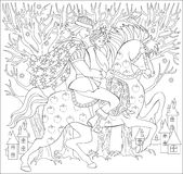 Black and white illustration of prince and princes riding on horse for coloring. Worksheet for children and adults. Royalty Free Stock Photos