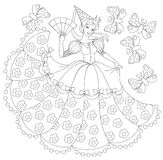 Black and white illustration of princess for coloring. Stock Photography