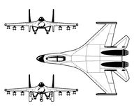 Fighter. Black and white illustration of a pursuit plane Stock Photo
