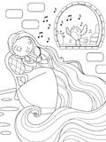 Rapunzel sing in the tower. Black and white illustration of Rapunzel fairytale Stock Images