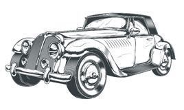Black and white illustration of retro car in engraving style. Isolated on white background. Print, template, design element Royalty Free Stock Image