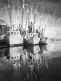 Black and white illustration of shimp boats at dock Royalty Free Stock Photography