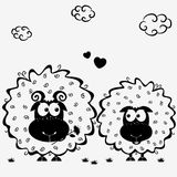 Lamb black. Black and white illustration silhouette cute couple sheep Stock Photos