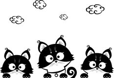 Kittens three. Black and white illustration silhouette cute kittens Royalty Free Stock Photos
