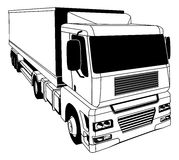 Black and white semi truck Stock Photography