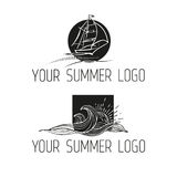 Black and white illustration. Vintage hand drawn emblem of Summer rest club with waves, ship and sun. Stock Photos