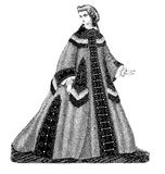 Black and white illustration,vintage ladies fashion,Berlin 1862 Royalty Free Stock Images