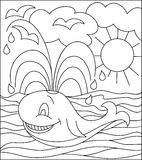 Black and white illustration of whale for coloring. Vector image. Developing children skills for drawing. Scale to any size without loss of resolution Stock Photography