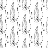 Black and white illustration on white background. Seamless pattern. Bottle with sprouts. Black and white illustration on white background. Seamless pattern Royalty Free Stock Photos