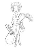 Black and white illustration of a woman with bags Stock Images