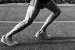 Black and white image of athletic muscular male legs stock image