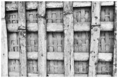 Black and White image of a bamboo railing. stock photography