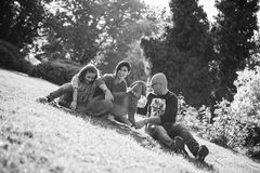 Black and white image of Beautiful gorgeous family of three play Stock Photo
