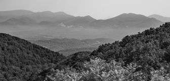 View of the Blue Ridge Mountains and Goose Creek Valley. A black and white image of the Blue Ridge Mountains and Goose Creek Valley located Bedford County Stock Image