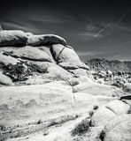 Rocks at Joshua Tree. Black and white image of boulders at Joshua Tree National Park in California stock images