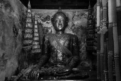 Black and white image. The Buddha statue at Wat Pa Rerai temple in Suphanburi, Thailand. Royalty Free Stock Photos
