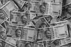 Cash Pile of Indian Currency. Monochrome stock photos