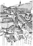 Black and white image of the city of Krasnoyarsk from a height. Good for online publications, social networks, and other publicati. Drawing of Krasnoyarsk. Black vector illustration