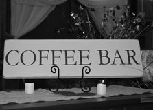 Coffee Bar Sign in black and white. Black and white image of a coffee bar sign Royalty Free Stock Photography