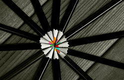 Black and white image of colored pencils with isolated pencil ag Stock Image