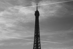 Black and white image of the Eiffel Tower Stock Photo