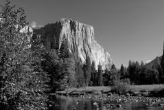 Black and white image of El Capitan and the Merced River. In Yosemite National Park Stock Image