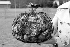 Black and white image of filled metal pumpkin Royalty Free Stock Photos