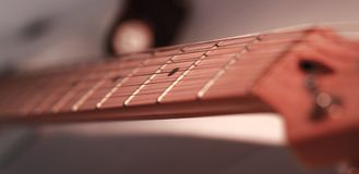 Black-and-white image. fingerboard six-string guitar. retro sty. Le. photo with copy space stock image