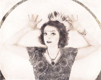 Black and white image of flapper Royalty Free Stock Photography