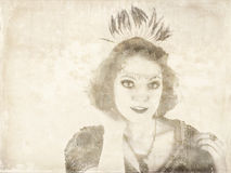 Black and white image of flapper Royalty Free Stock Images