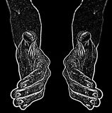 Black and white image of hands from black and want to shake hand. Royalty Free Stock Images