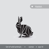 Black and white image of a hare. Illustration of a hare performe. D in a flat graphic. Illustration with a hare for design and logo Stock Images