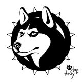 Black and white image of the head of a dog of the Husky breed. Logo, vector illustration, black and white drawing drawing of a head of a dog of the breed of a Royalty Free Stock Photos