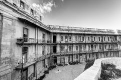 Black and white image of Historic buildings of the Valletta defense fortification and Valletta citadel (fortress) Stock Image