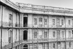 Black and white image of Historic buildings of the Valletta defense fortification and Valletta citadel (fortress) Stock Images