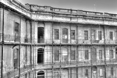 Black and white image of Historic buildings of the Valletta defense fortification and Valletta citadel (fortress) Stock Photos