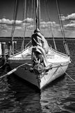 Black and white image of a historic skipjack sailing vessel. A black and white image of a historic Chesapeake Bay Skipjack sail boat used for oyster and royalty free stock photos