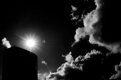 Imperial War Museum. Black and white image of Imperial War Museum under the sun and with clouds approaching Royalty Free Stock Photography