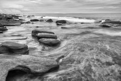 Black and white image of Kings Beach. Kings Beach - Sunshine Coast - QLD Stock Photo