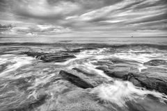 Black and white image of Kings Beach Stock Image