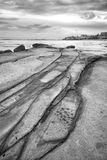 Black and white image of Kings Beach. Kings Beach - Sunshine Coast - QLD Stock Photos