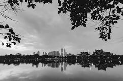 Black and white image of Kuala Lumpur City with reflection on the lake Royalty Free Stock Photography
